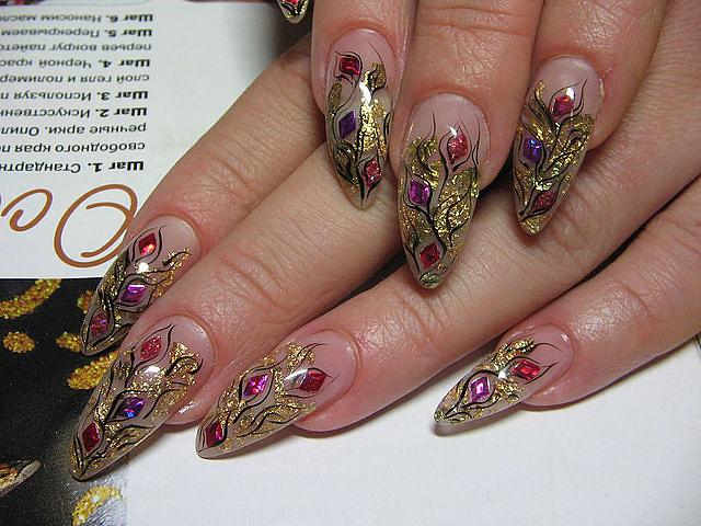 аквариумный дизайн ногтей с блестками: