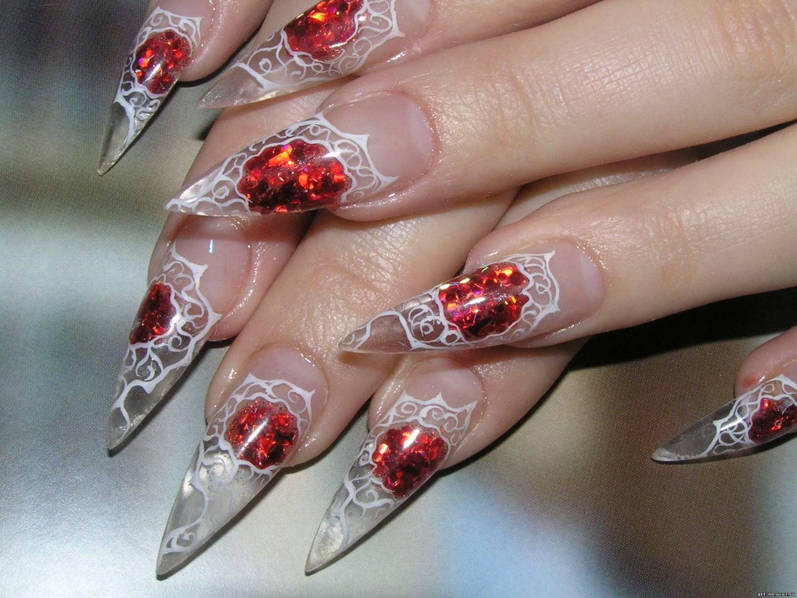 Красивые рисунков на нарощенных ногтях