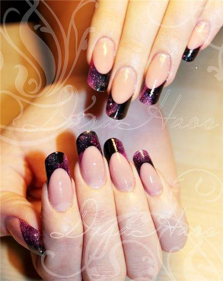 Нарощенные овальные ногти френч